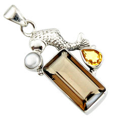 925 silver 9.65cts brown smoky topaz citrine pearl fish pendant r20504