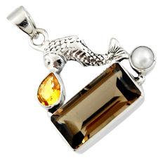 925 silver 10.02cts brown smoky topaz citrine pearl fish pendant r20513