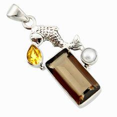 925 silver 9.65cts brown smoky topaz citrine white pearl fish pendant r20508