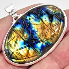 925 silver 50.78cts carving natural blue labradorite oval pendant r29015