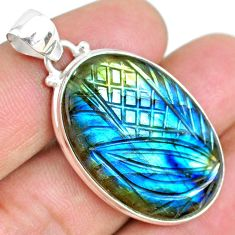 925 silver 27.70cts carving natural blue labradorite oval shape pendant r69745