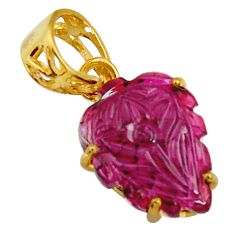 925 silver 7.53cts carving natural pink tourmaline 14k gold pendant r29157
