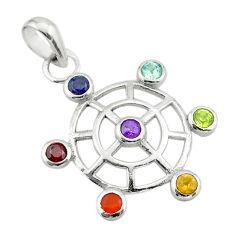 925 silver 2.72cts circle of life amethyst cornelian topaz chakra pendant t50397