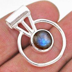 925 silver 3.00cts circle of life natural blue labradorite round pendant t47095