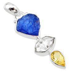 925 silver 10.15cts citrine blue tanzanite raw herkimer diamond pendant t10835