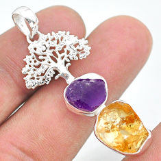 925 silver 12.89cts citrine raw amethyst rough tree of life pendant t33563