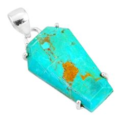 925 silver 12.04cts coffin green arizona mohave turquoise fancy pendant r81990