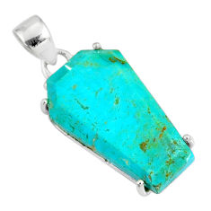 925 silver 13.05cts coffin green arizona mohave turquoise pendant r81964