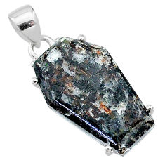 925 silver 14.76cts coffin natural astrophyllite (star leaf) pendant t11995