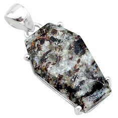 925 silver 14.08cts coffin natural astrophyllite (star leaf) pendant t11999