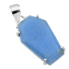 925 silver 13.13cts coffin natural blue angelite fancy pendant jewelry t11844