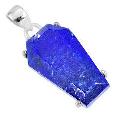 925 silver 14.77cts coffin natural blue lapis lazuli fancy pendant r81975
