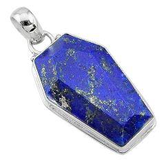 925 silver 16.23cts coffin natural blue lapis lazuli fancy shape pendant t11710
