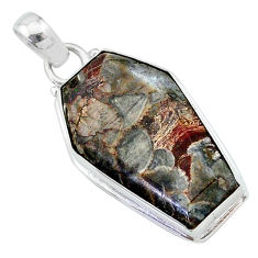 925 silver 16.23cts coffin natural brown mushroom rhyolite fancy pendant t11750