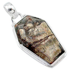 925 silver 15.60cts coffin natural brown mushroom rhyolite pendant t11753