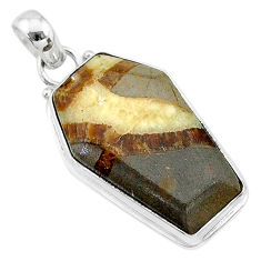 925 silver 16.23cts coffin natural brown septarian gonads fancy pendant t11792