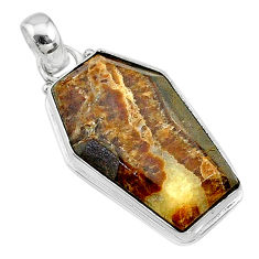 925 silver 16.70cts coffin natural brown septarian gonads fancy pendant t11796