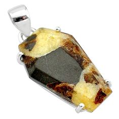 925 silver 13.69cts coffin natural brown septarian gonads fancy pendant t12024