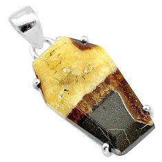 925 silver 13.69cts coffin natural brown septarian gonads fancy pendant t12037