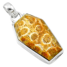 925 silver 16.18cts coffin natural fossil coral petoskey stone pendant t11785