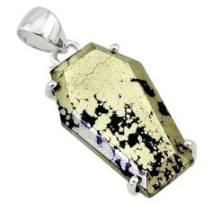 925 silver 18.73cts coffin natural golden pyrite in magnetite pendant t11931