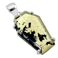 925 silver 18.14cts coffin natural golden pyrite in magnetite pendant t11940