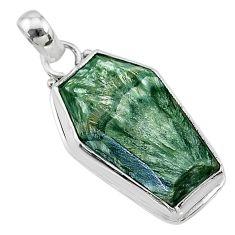 925 silver 15.65cts coffin natural green seraphinite (russian) pendant t11724