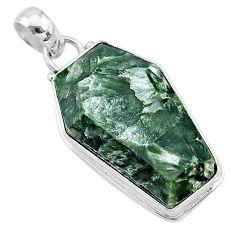 925 silver 16.70cts coffin natural green seraphinite (russian) pendant t11727