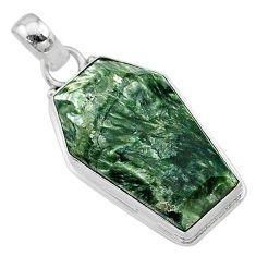 925 silver 16.18cts coffin natural green seraphinite (russian) pendant t11732