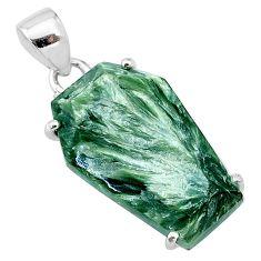 925 silver 11.73cts coffin natural green seraphinite (russian) pendant t11954