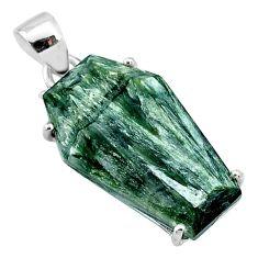 925 silver 12.85cts coffin natural green seraphinite (russian) pendant t11960