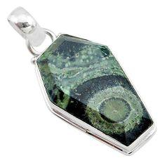925 silver 15.08cts coffin natural kambaba jasper (stromatolites) pendant t11757
