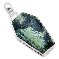 925 silver 16.07cts coffin natural kambaba jasper (stromatolites) pendant t11760