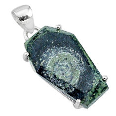 925 silver 14.25cts coffin natural kambaba jasper (stromatolites) pendant t11875
