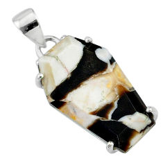 925 silver 13.13cts coffin natural peanut petrified wood fossil pendant t11912