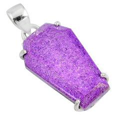 925 silver 13.65cts coffin natural purple purpurite stichtite pendant r81993