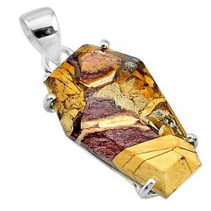 925 silver 12.96cts coffin natural yellow brecciated mookaite pendant t11885
