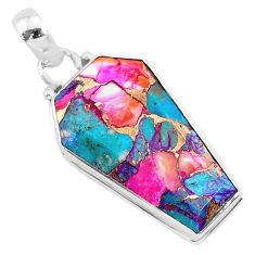 925 silver 14.74cts coffin spiny oyster arizona turquoise pendant jewelry r93267