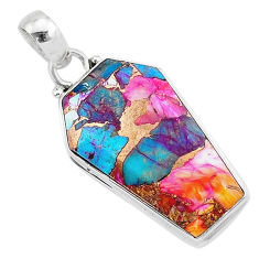 925 silver 15.65cts coffin spiny oyster arizona turquoise pendant jewelry r93270