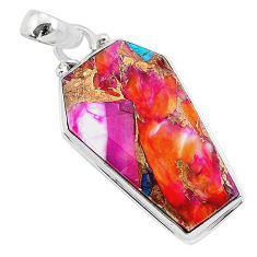 925 silver 16.20cts coffin spiny oyster arizona turquoise pendant jewelry r93280