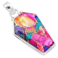 925 silver 16.30cts coffin spiny oyster arizona turquoise pendant r93273