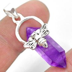 925 silver 12.18cts double pointer natural amethyst honey bee pendant t44465