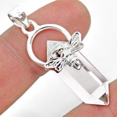 925 silver 13.15cts double pointer natural crystal honey bee pendant t44470