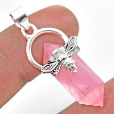 925 silver 12.22cts double pointer natural rose quartz honey bee pendant t44475
