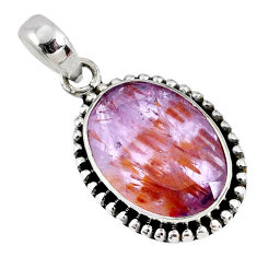 925 silver 12.98cts faceted cacoxenite super seven (melody stone) pendant r60753