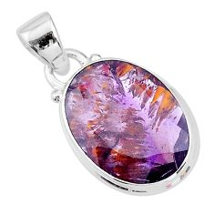925 silver 9.68cts faceted cacoxenite super seven (melody stone) pendant t13058