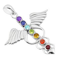 925 silver 2.91cts feather charm amethyst cornelian garnet chakra pendant t50434
