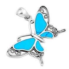 925 silver 6.26gms fine blue turquoise enamel butterfly pendant a88465 c14933