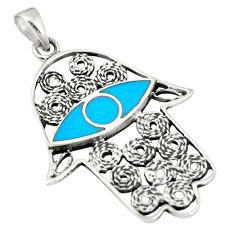 925 silver fine blue turquoise enamel hand of god hamsa pendant a79768 c13730
