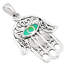 925 silver fine green turquoise enamel hand of god hamsa pendant a79741 c13840